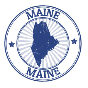 Grunge rubber stamp with the name and map of Maine, vector illustration