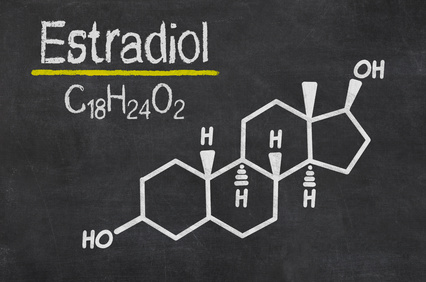 Schiefertafel mit der chemischen Formel von Estradiol