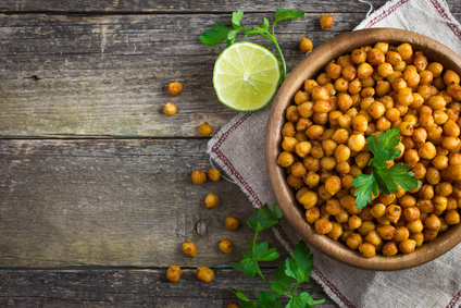 Roasted and salted chick peas.