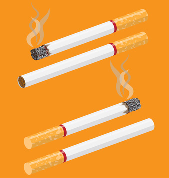 Cigarette vector on orange background with smoke