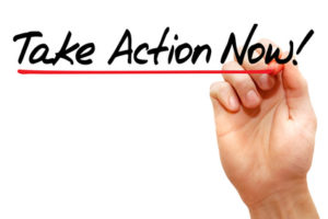 Hand writing Take Action Now with marker, business concept