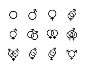 black Sexual orientation icons set isolated on a white background